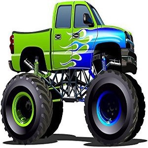 Cartoon Monster Truck with Flames