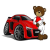 Red Cartoon Teddy Bear Car